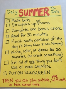 Summer to-do list for kids.
